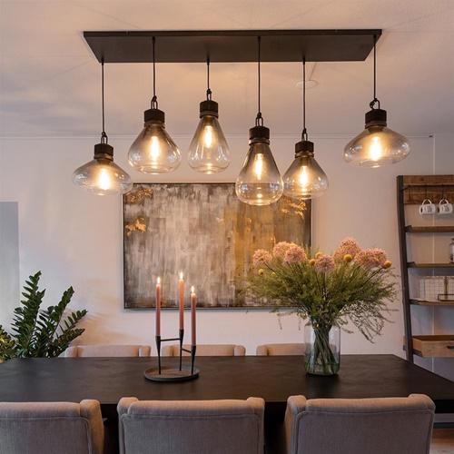 Hanglamp Flere 6L zwart smoke/clear glas