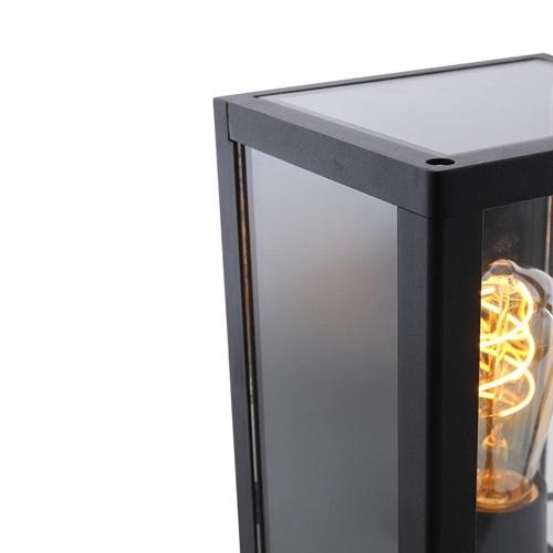 Wandlamp lantaarn strak zwart IP44