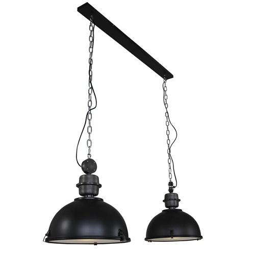 Stoere 2-lichts hanglamp bikkel industrieel zwart