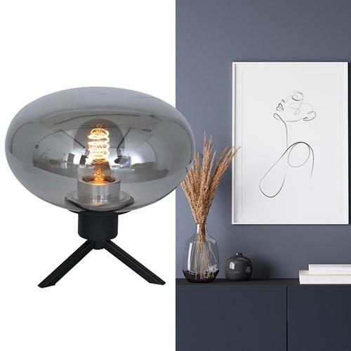 Tafellamp driepoot ufo smoke glas