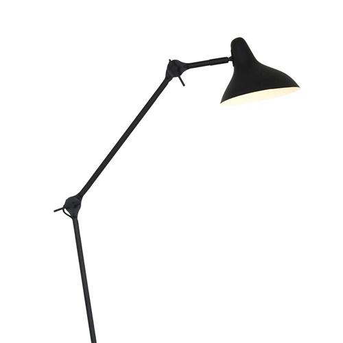 Retro vloerlamp mat zwart verstelbaar