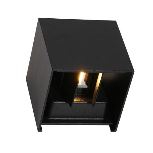 Wandlamp kubus zwart + sch.sensor IP54