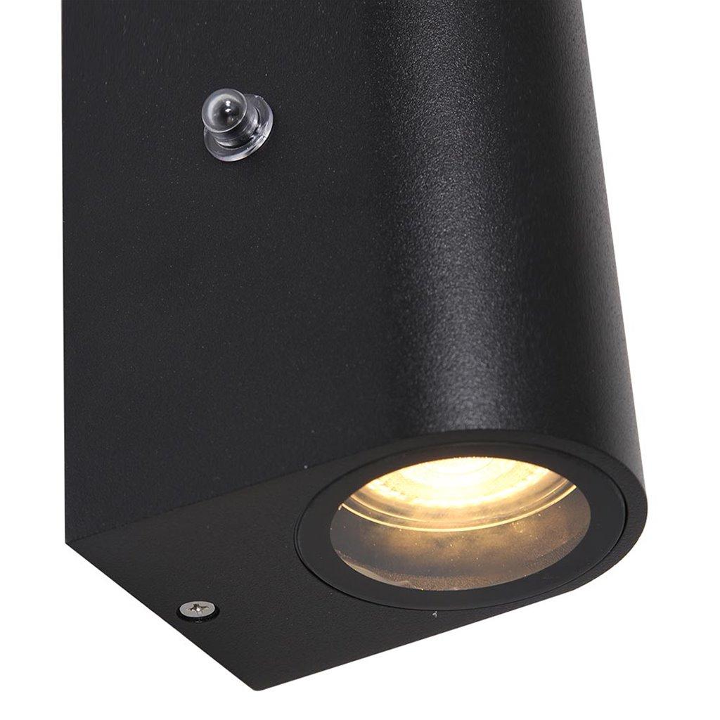 Metalen buitenlamp up+down GU10 met sensor