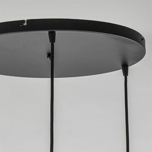 Ronde 3-lichts hanglamp zwart met smoke/helder glas