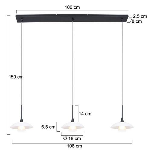Moderne LED hanglamp zwart met witte schotels