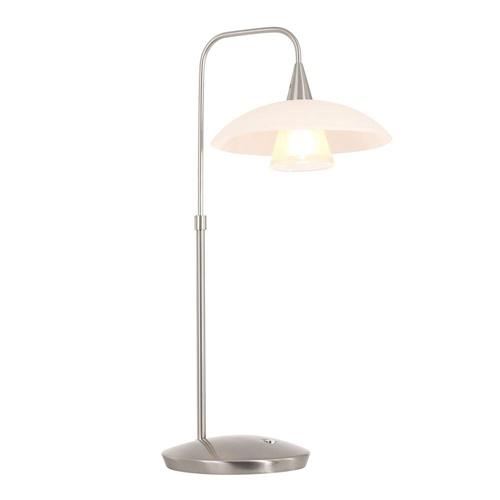 LED tafellamp staal met wit glas inclusief dimmer