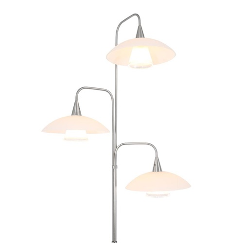 Moderne 3-lichts LED vloerlamp geborsteld staal