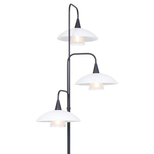 Dimbare LED vloerlamp zwart met witte schotels