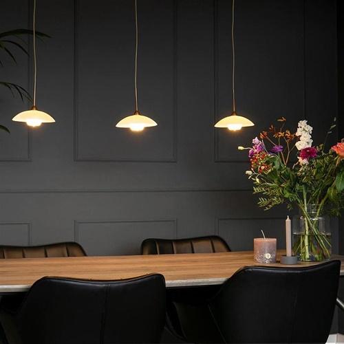 Strak klassieke LED hanglamp brons met creme schotels
