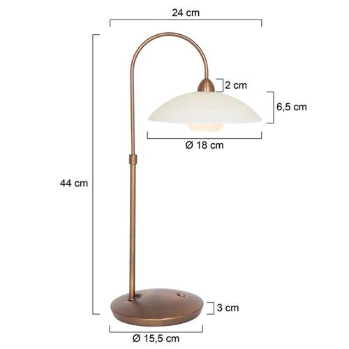 Sfeervolle tafellamp brons met creme glas klassiek