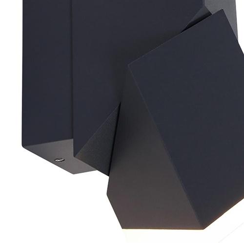 Rechthoekige LED buitenlamp verstelbaar zwart aluminium