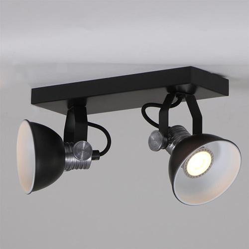 Industriële 2-lichts plafondlamp met ronde spots