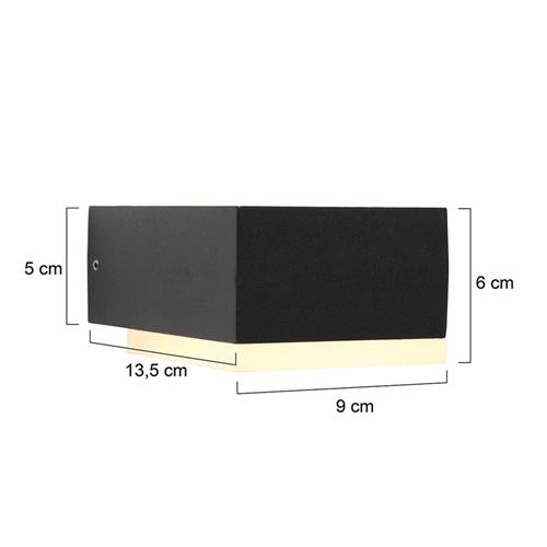 Zwarte buitenlamp wand inclusief LED