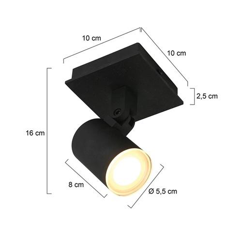 Moderne 1-lichts opbouw spot zwart inclusief LED