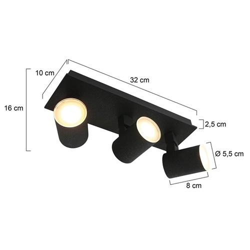 3-Lichts plafondspot met dim to warm LED zwart