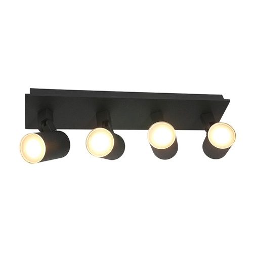 Langwerpige LED opbouwspot zwart 4-lichts