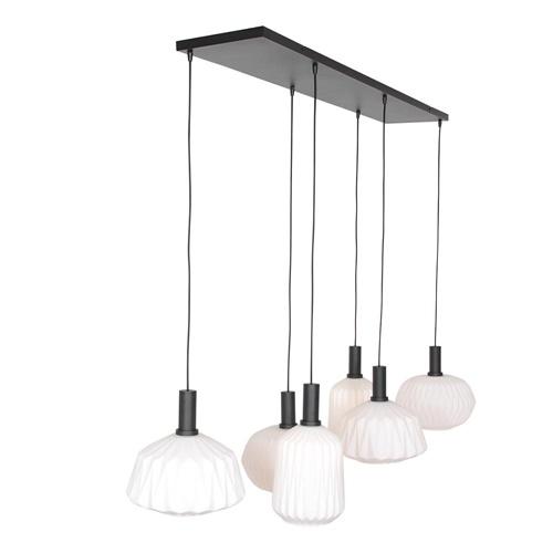 Retro 6-lichts hanglamp opaal glas met relief
