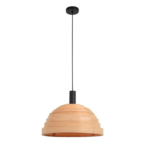 Ronde koepel hanglamp beuken met zwart