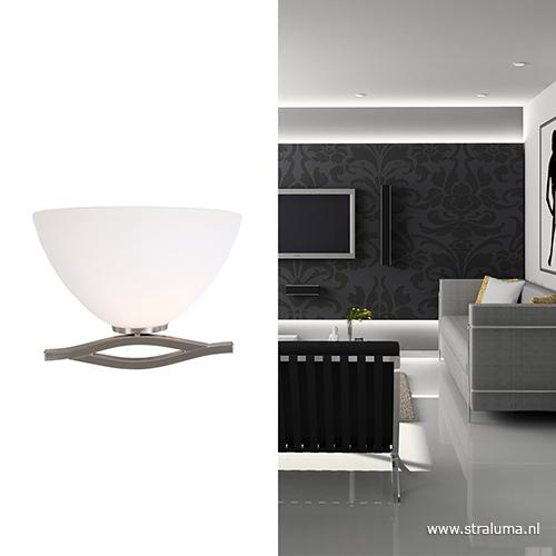 Wandlamp capri staal glas woonkamer straluma for Wandlamp woonkamer