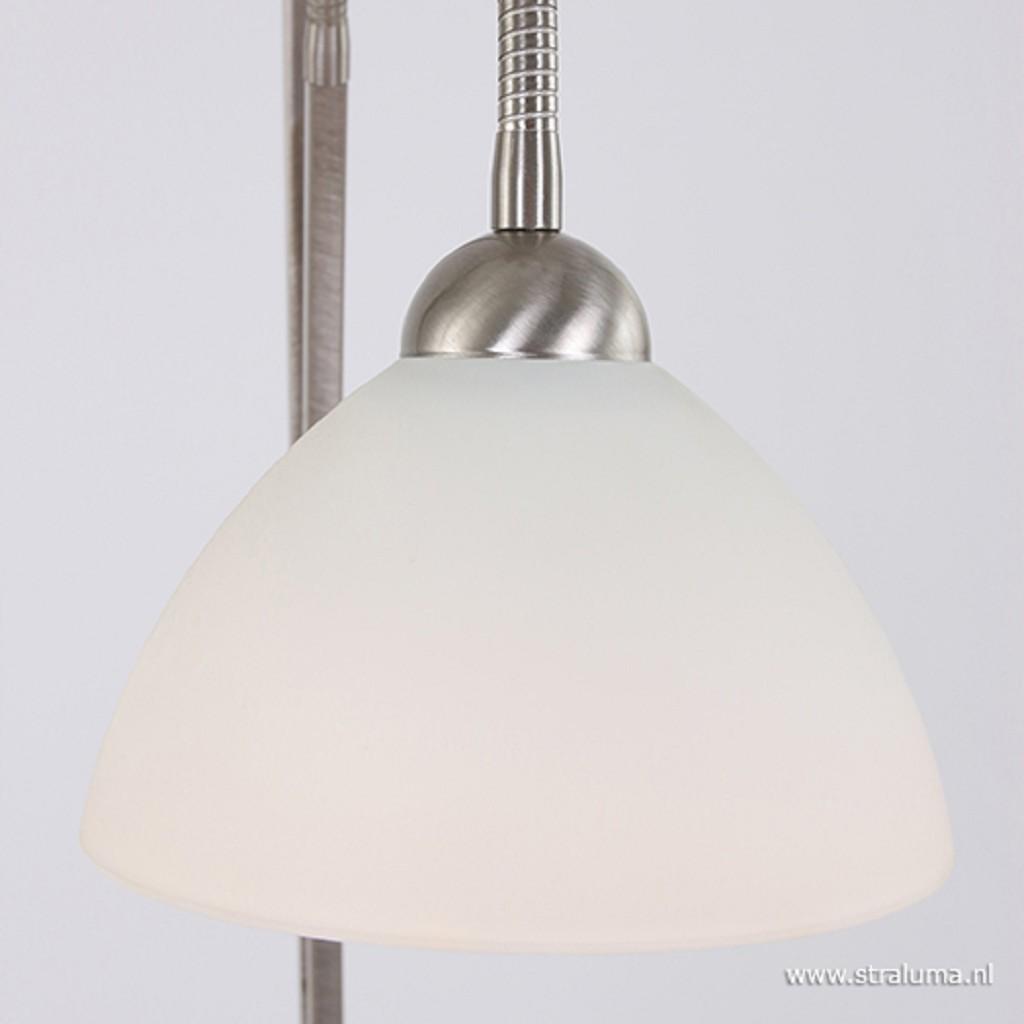 **Vloerlamp Capri staal/glas met leeslam