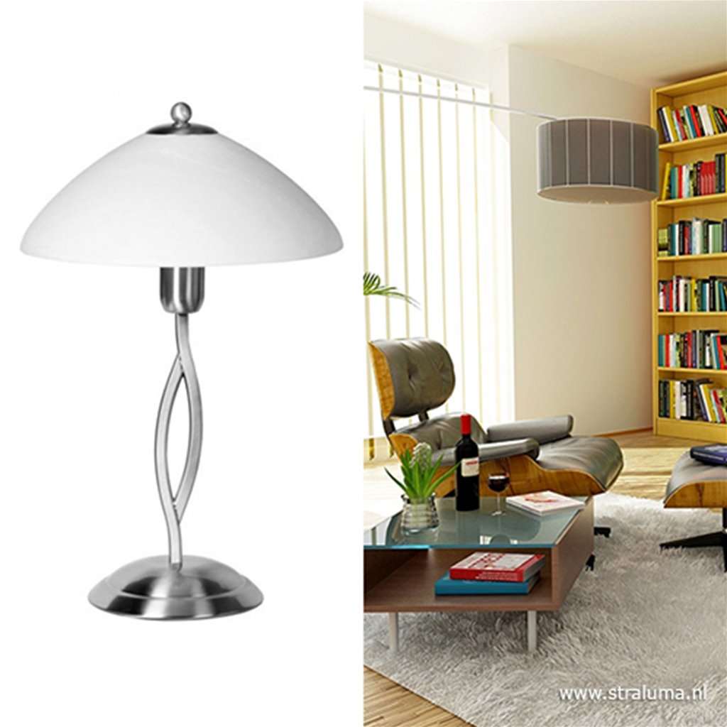 Tafellamp Capri staal/glas