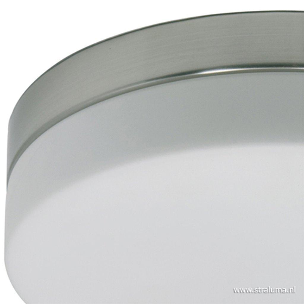 Badkamer plafonnière staal met wit glas
