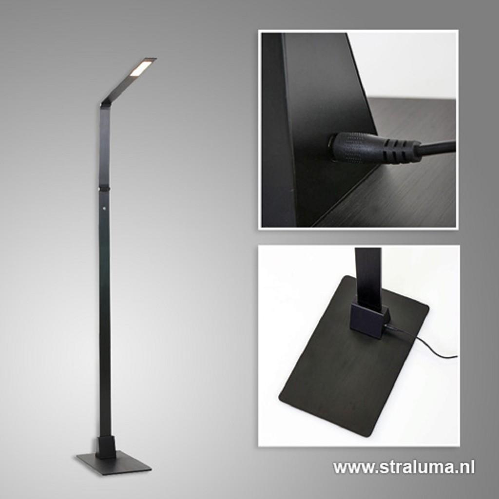 Zwarte led vloerlamp met touchdimmer