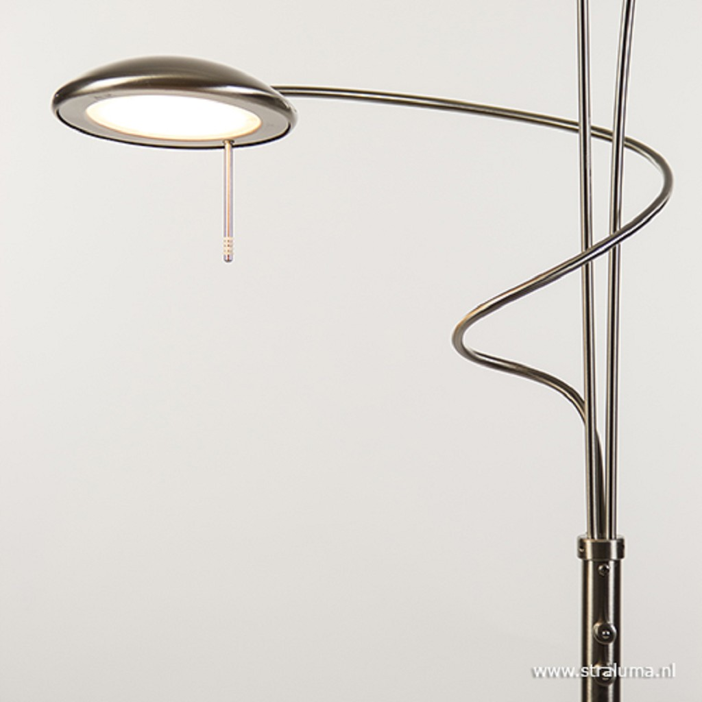 Stalen Vloerlamp uplighter met leeslamp