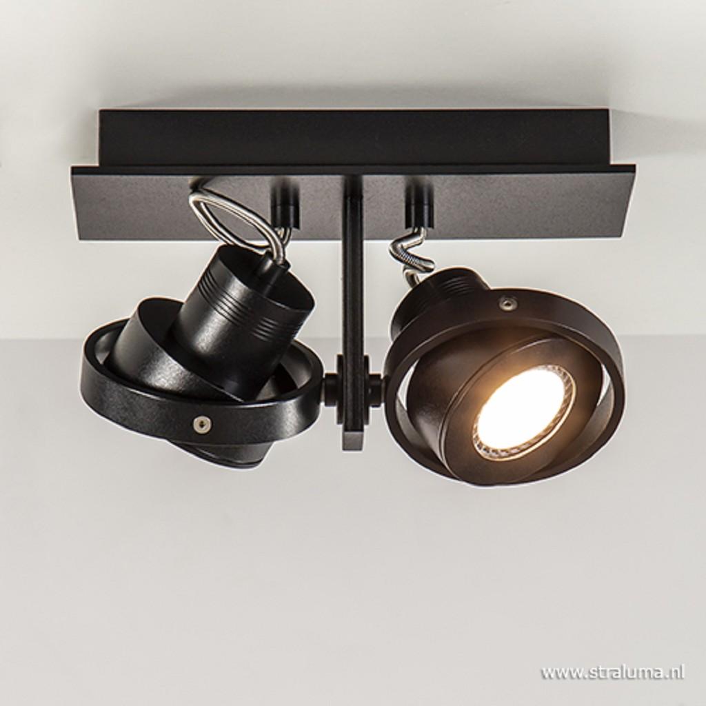 Opbouwspot balk zwart 2-lichts gu10 incl