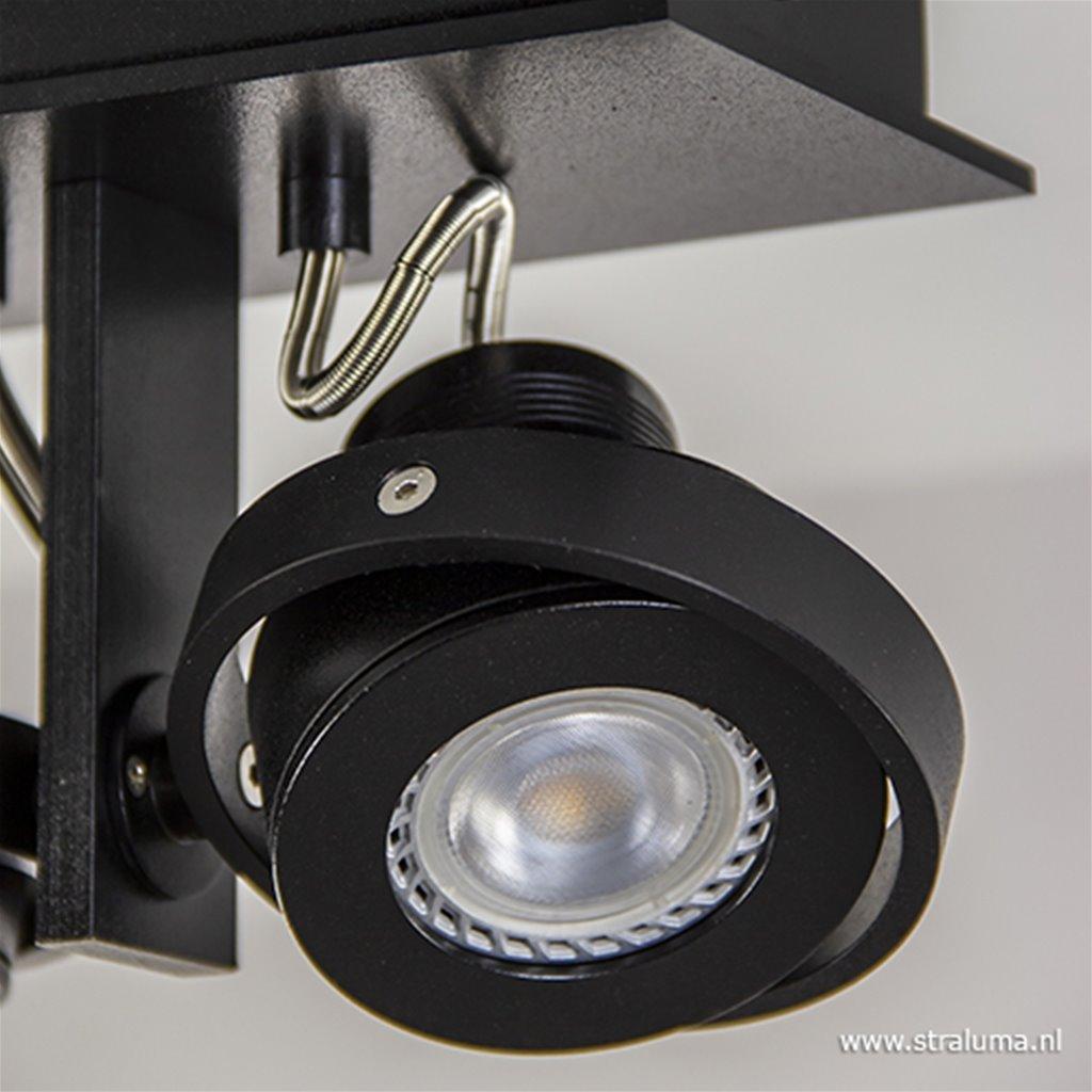 Opbouwspot balk zwart 3-lichts gu10 incl