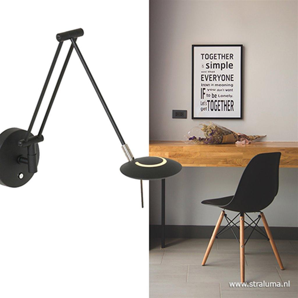 Verstelbare wandlamp LED zwart dimbaar