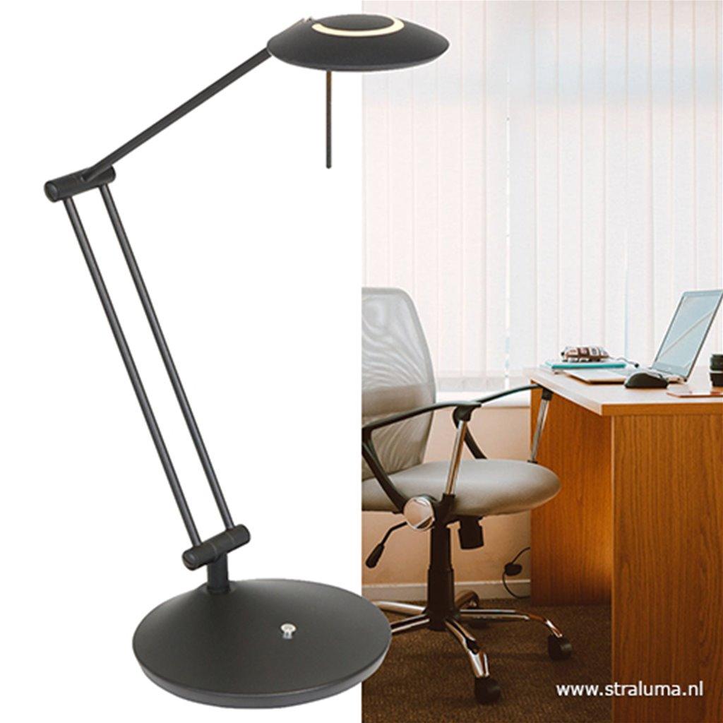 Moderne bureaulamp zwart met dimbaar LED
