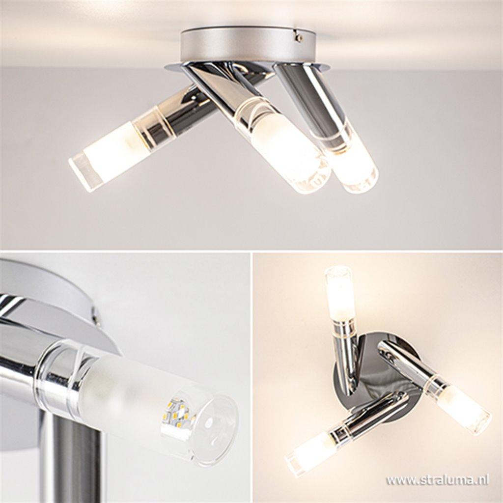 Moderne plafondlamp chroom met glas IP44