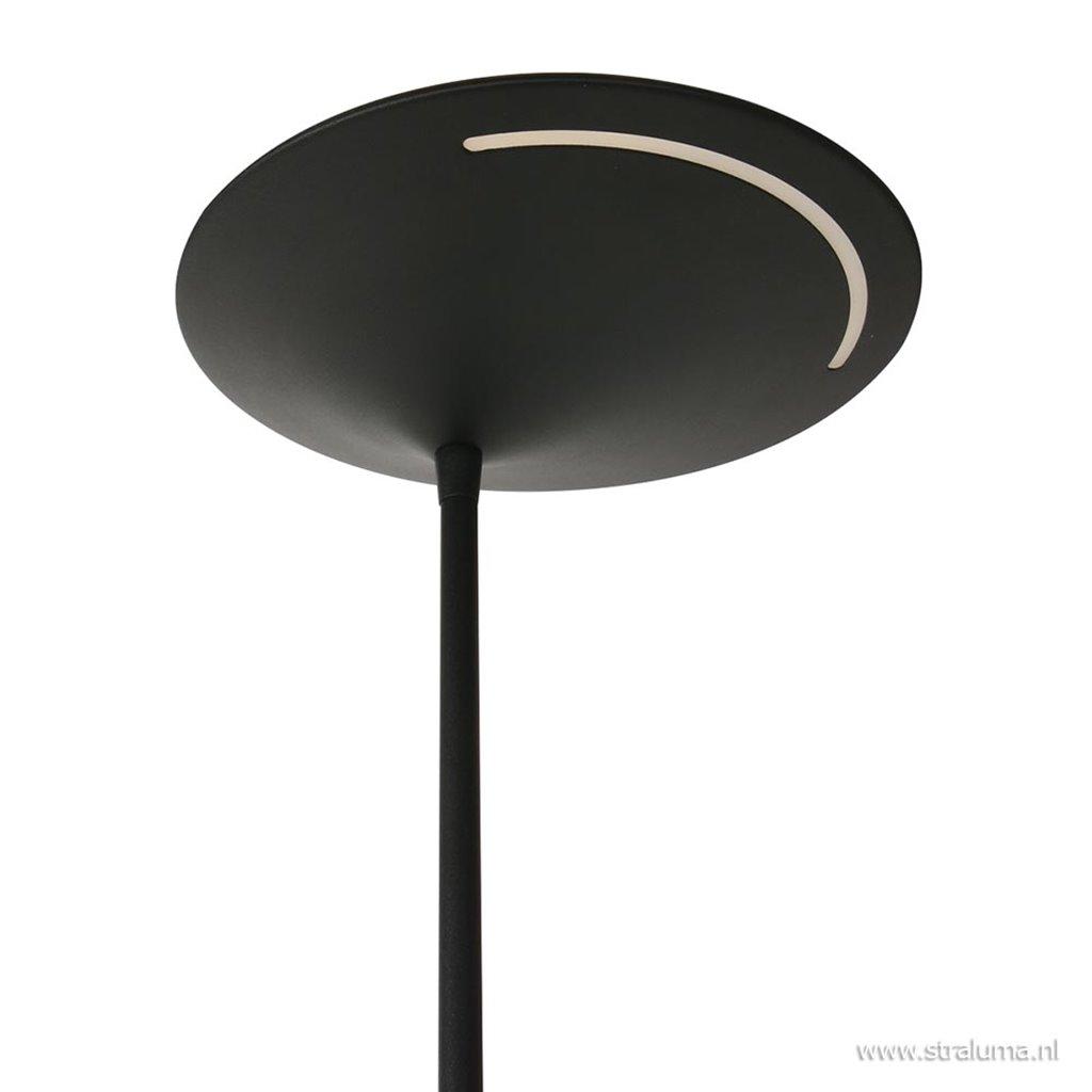 Uplighter zwart met leeslamp 2xpushdimmer