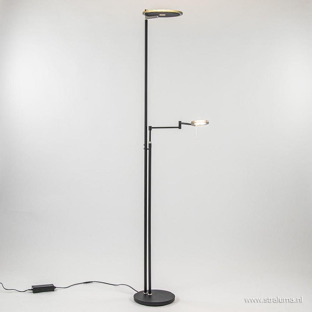 Moderne uplighter/leeslamp zwart met smoke glas