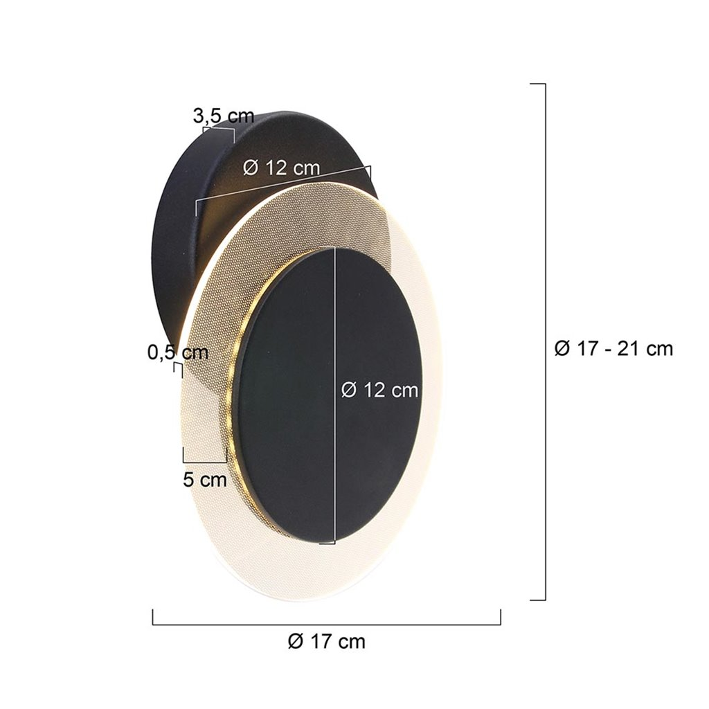 Wand-/plafondlamp Lido zwart indirect