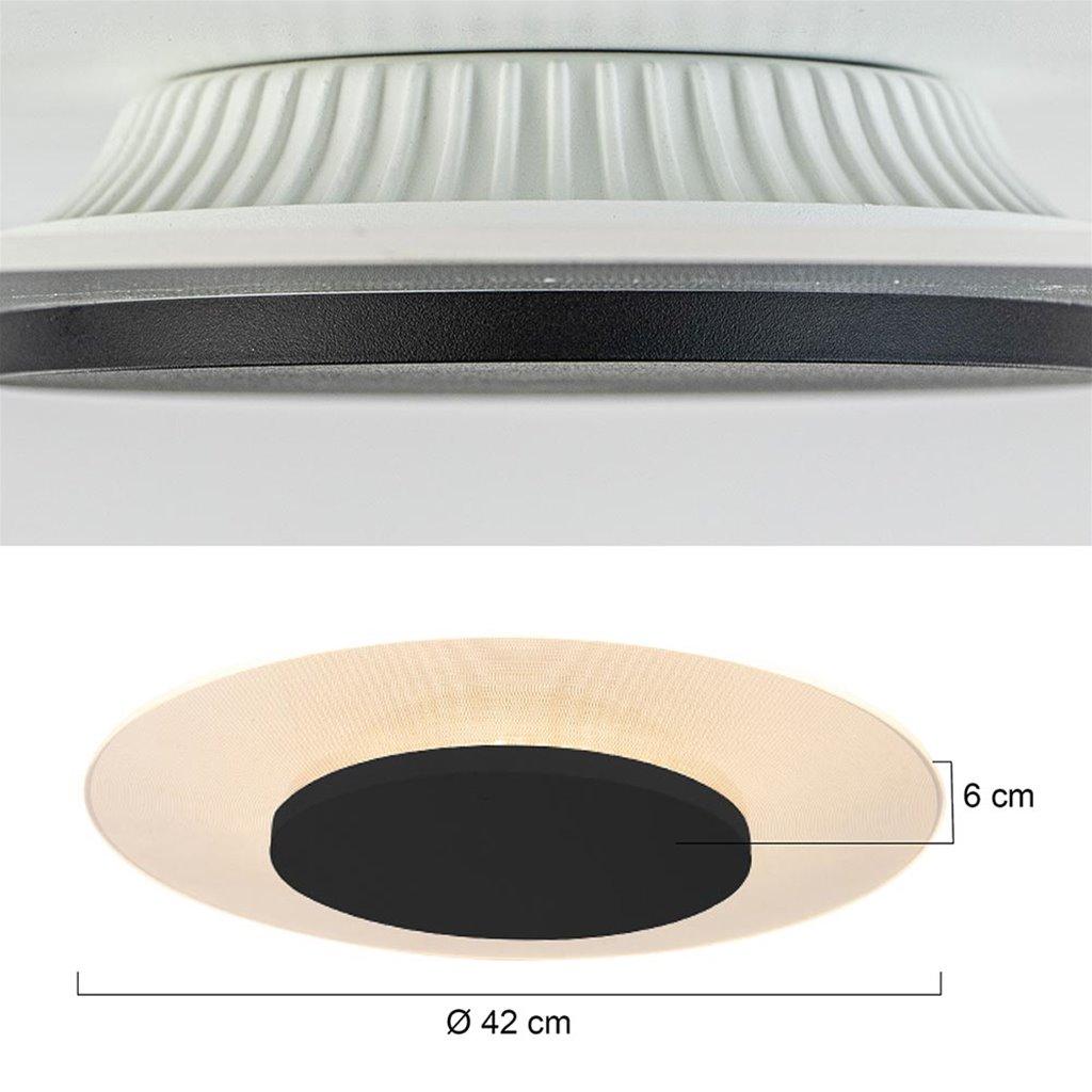 Moderne LED plafonnière Lido zwart 42 cm