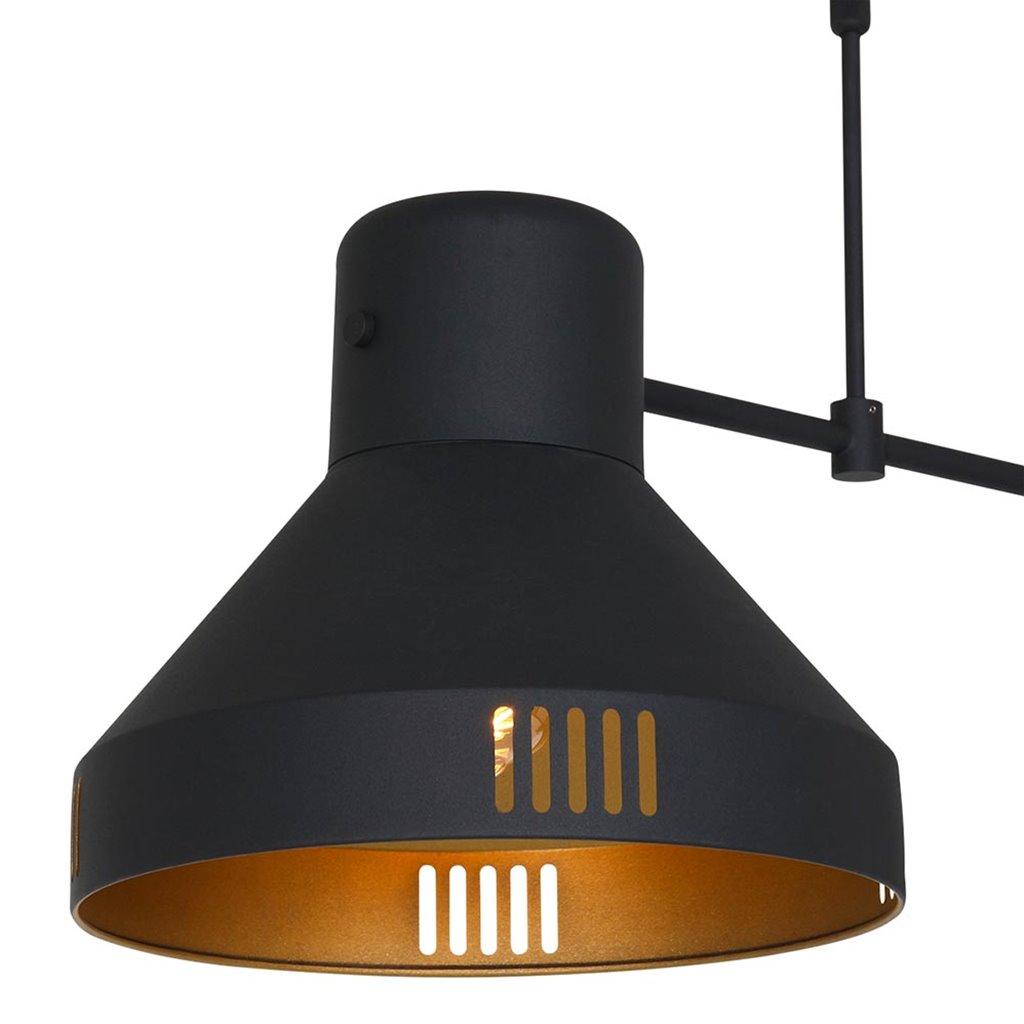 Industriële 2-lichts hanglamp zwart met goud