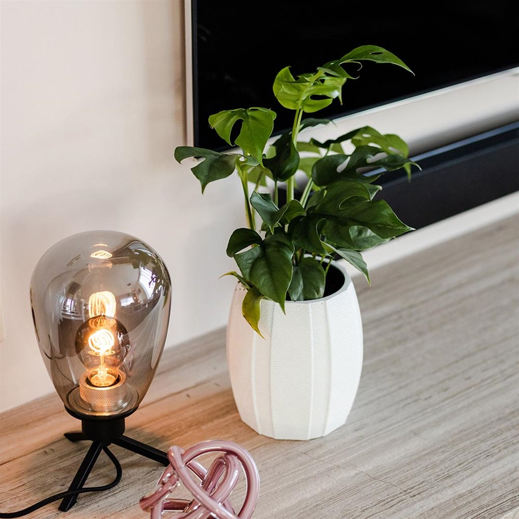 Tafellamp driepoot ovaal smoke glas
