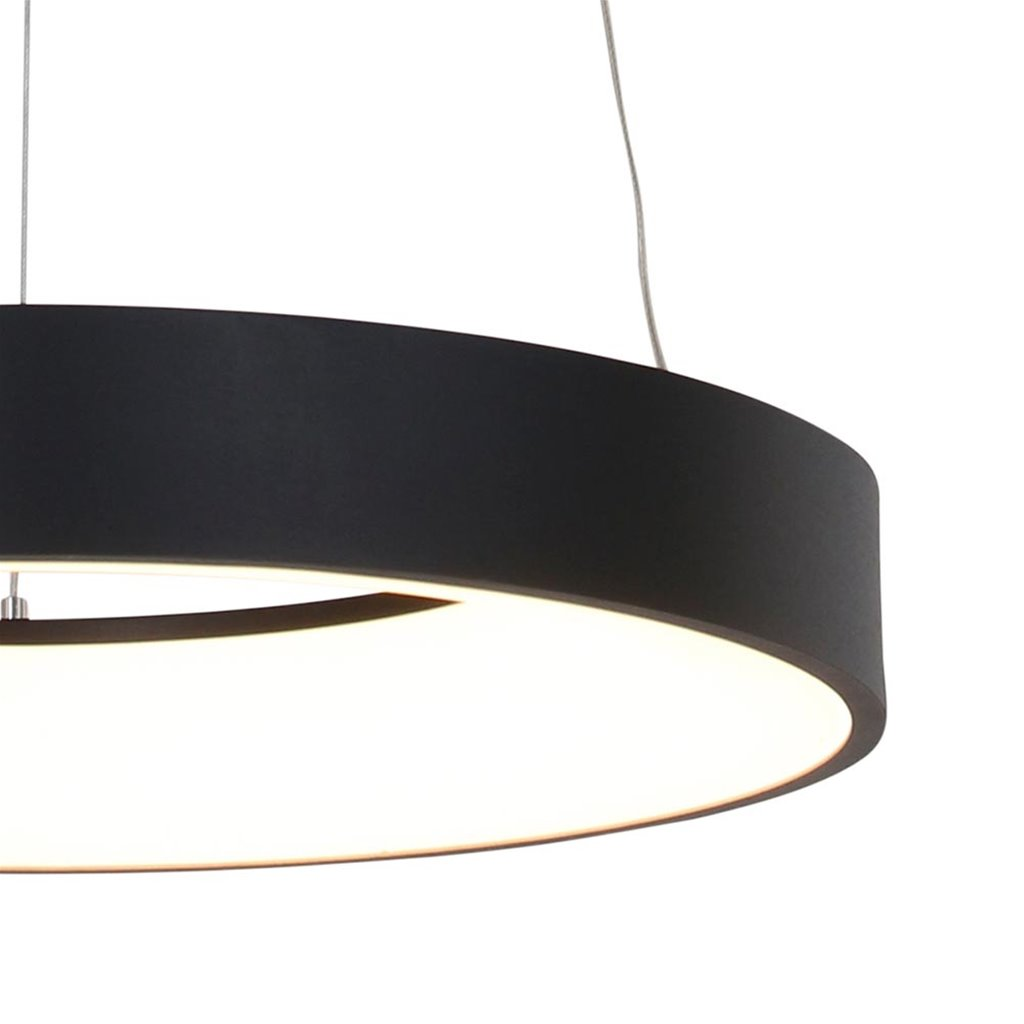 Zwarte hanglamp ring inclusief LED
