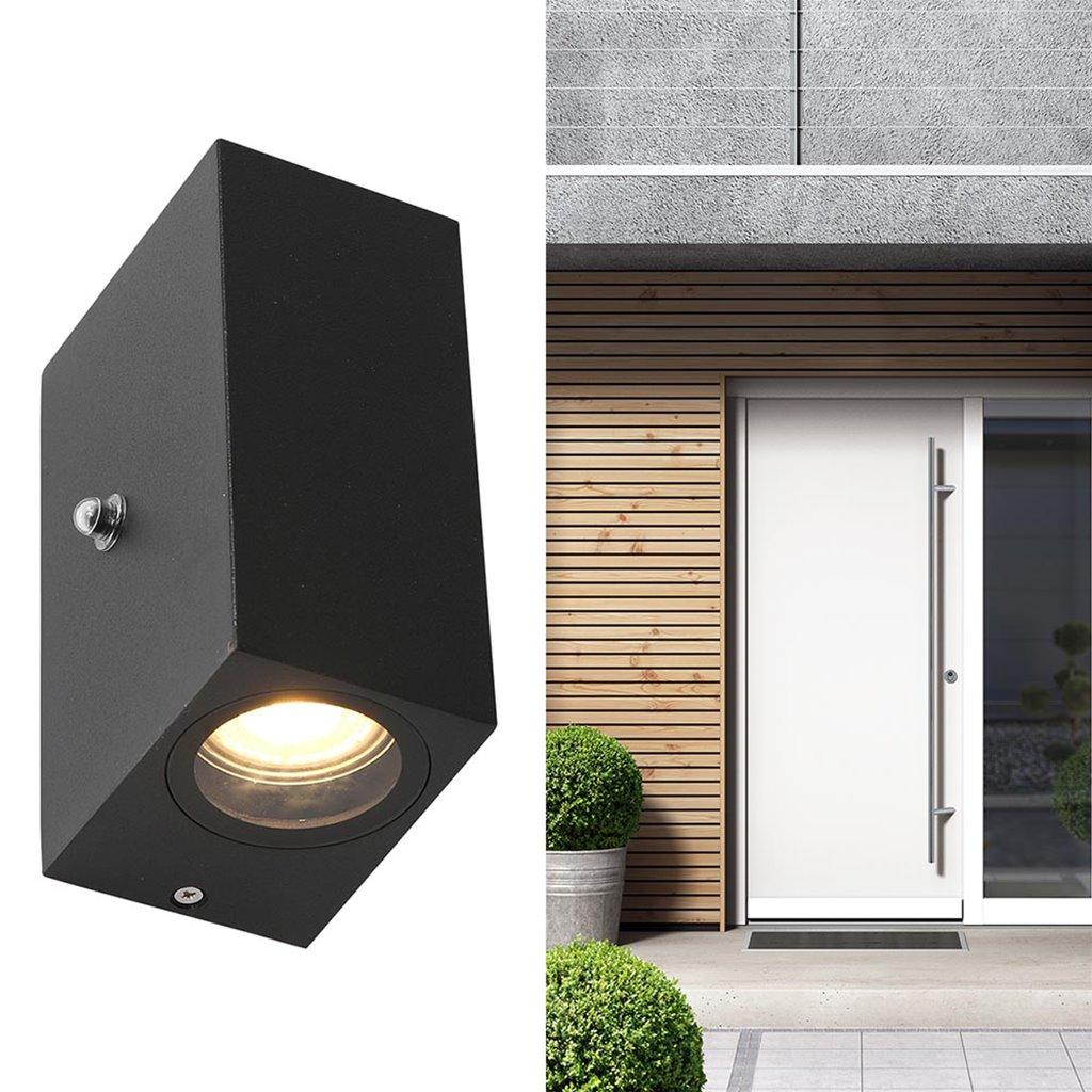 Rechthoekige wandlamp up en down inclusief LED en sensor
