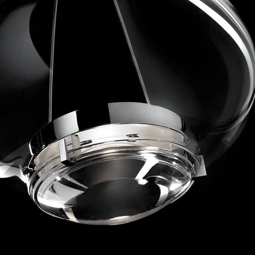 Kleine design hanglamp Italiaans glas met chroom
