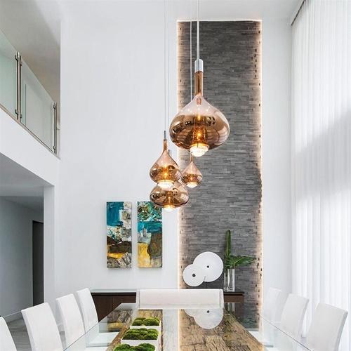 Design LED hanglamp Sky-Fall brons glas met chroom