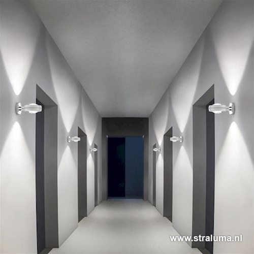Wandlamp verstelbaar led up+down wit/chr