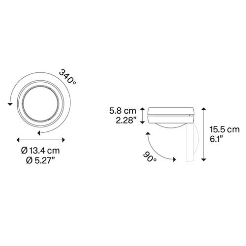 Verstelbare design plafondspot Nautilus LED wit/chroom