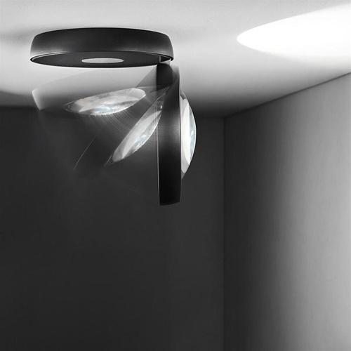 Zwart met chromen LED plafondspot Nautilus
