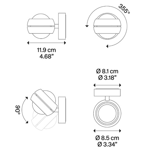 Design wandlamp up+down Nautilus Mini LED