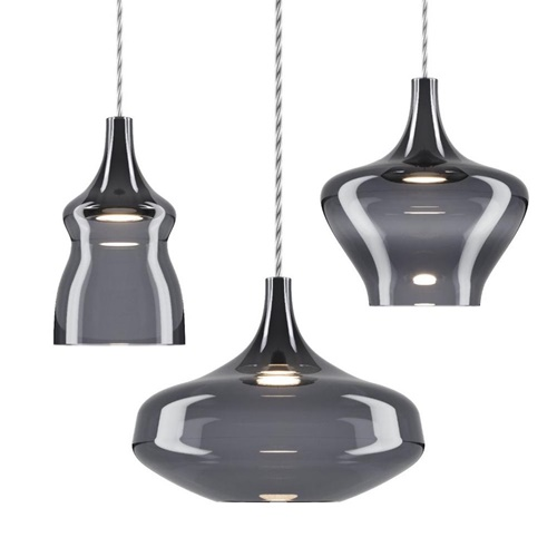 Kleine hanglamp Nostalgia smoke glas inclusief LED