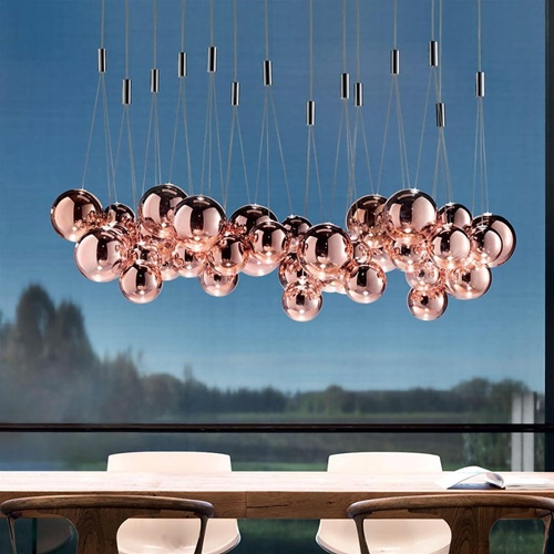 Design hanglamp Random rose goud glas inclusief LED