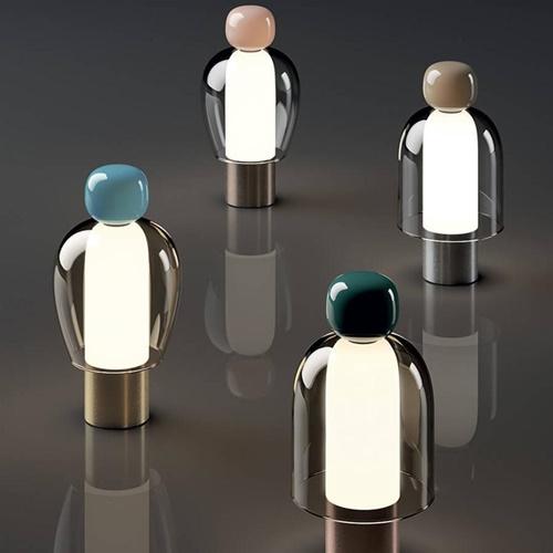 Dimbare LED tafellamp Easy Peasy flamingo glas